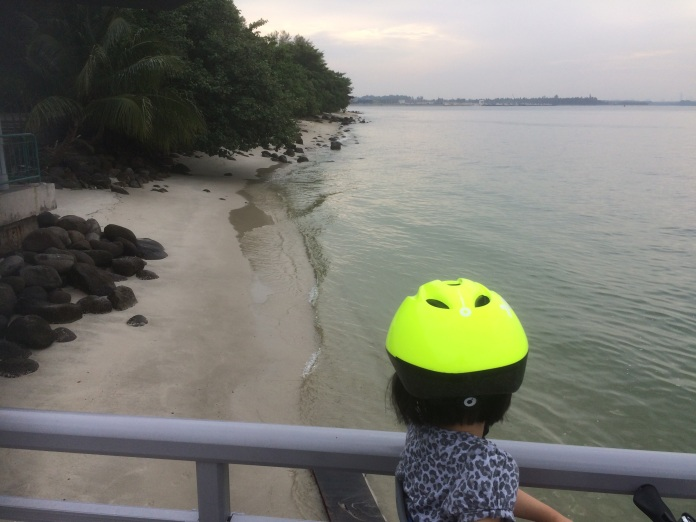 Cycling to Punggol Point Jetty to watch the horizon along the beach