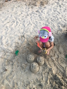 Building sand castles at Punggol point jetty